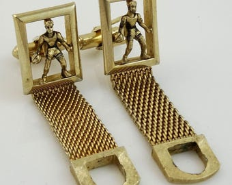 Basketball Wrap Cufflinks Vintage Swank Gold Tone