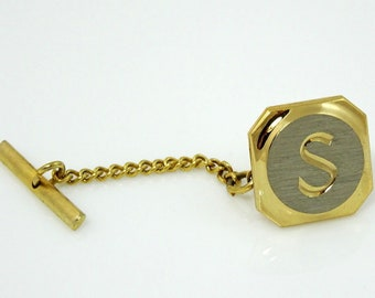 Letter S initial Tie Tack Pin Two Tone Vintage