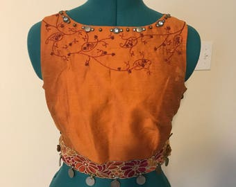 Ladies Gypsy Pirate Renaissance Crop Top Size Small 4-6 Orange