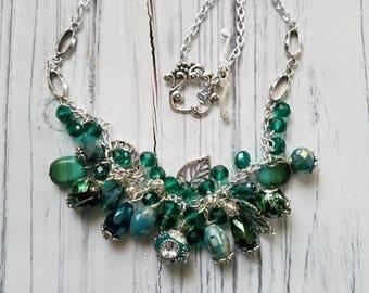 Beaded Necklace Green Necklace Woman Necklace Boho Necklace Czech Beads Necklace