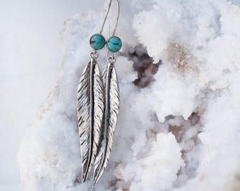 Silver leaf earrings, turquoise leaf earrings, turquoise and silver earrings, silver feather earrings, silver dangle earrings