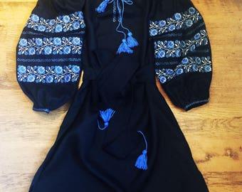 ukrainian embroidered vyshyvanka dress DOBRO bohemian ethnic gown boho chic peasant top kaftan arabic Ukraine