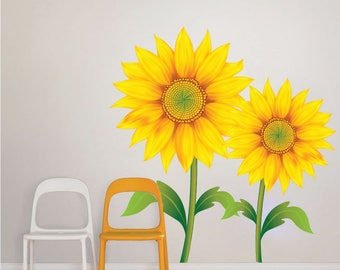 Sunflower Wall Mural Decal Sunflower Wallpaper Art Sticker Sunflower Wall  Art Design Sunflower Bedroom Decor Sunflower