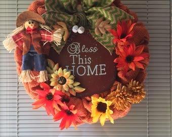 Small Handmade Autumn/Fall Bless This Home Burlap Wreath