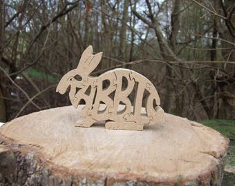 Rabbit ornament, Wooden Rabbit, unique Rabbit gift, children's ornament, pet rabbit, wildlife gift, pet gift, gift for children,