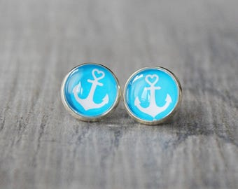 "Ear stud ""anchor"", turquoise"