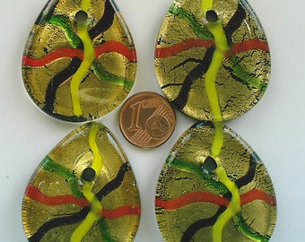 1 Pendentif CARREFOUR verre 43mm goutte plat façon Murano DIY création bijoux