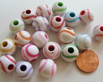 20 perles balle BASEBALL rond 12x11mm Acrylique MIX Couleurs RES-34 Création bijoux