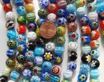 1 fil de 38 perles environ Rondes 10mm verre Millefiori  mix motifs et couleurs Création bijoux