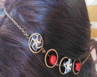 Headband in bronze with black flowers tiara