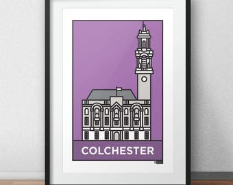 Colchester - Town Hall Landmark  // Essex Architecture // Statement Poster // Gifts for new home // Handmade Illustration // London design