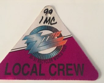1990-91 ZZTOP Recycle World Tour Access Pass Used Local Crew Neat Shape. Silk cloth