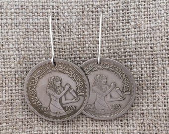 Egyptian spindle coin earrings