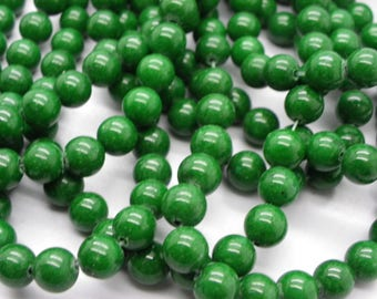 25 jade 8 mm round green jade natural stone of life