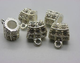 3 Pearl connectors in alloy with white swa Crystal 14 mm x 17 mm 4 hole