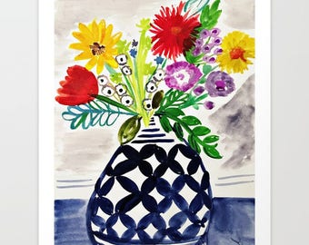 Vibrant Florals Blue Vase Mixed Media Giclee Print