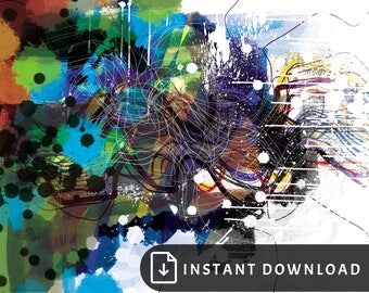 16x20 Colorful abstract art - green blue purple abstract art, modern art, home decor for men, man cave wall decor, housewarming for man