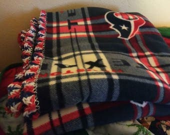 Texans fleece blanket with crochet edging