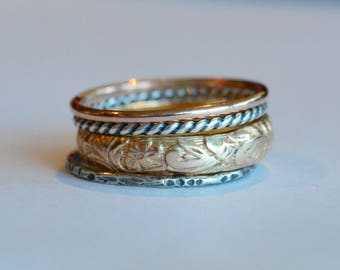Gold and SIlver Stacking Rings - Set of Four Rings Rose Gold, Yellow Gold and Sterling Silver