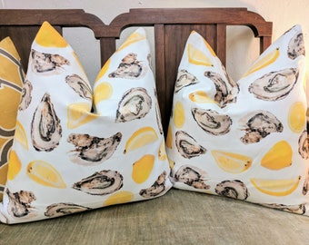 oyster and lemon pillow cover // oyster decor // citrus decor // lemon pillow cover // katie kime // lemon decor