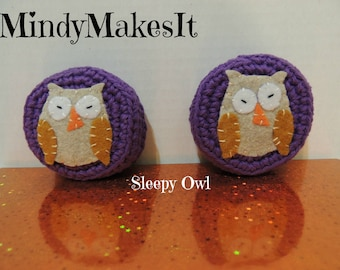 MindyMakesIt - Ear Pad Covers, Sleepy Owl (Headset, Headphone, Earpiece Cover, Ear Pads, Ear Cushion Replacement)