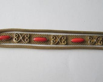 Vintage Goldtone Stone Mesh Bracelet Gold Tone Orange Stone Elegant!