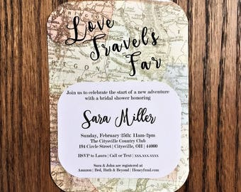 Love Travels Far Bridal Shower Travel Theme Invitation | Love is a Journey Bridal Shower Invitation|Traveling from Miss to Mrs Shower Invite