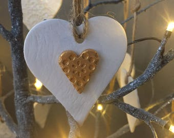 Heart of Gold hanging heart decoration, Christmas decoration, xmas decoration, hanging heart