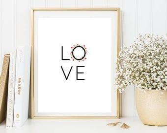 love floral print, love  sign, floral love decor, floral  quotes, love quotes, floral quote, love sign, love print, printable love poster.