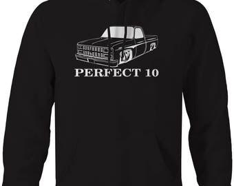 Perfect 10 Chevy C10 Fleetside 1973-87 Square body Pickup Truck Hooded Sweatshirt- U188
