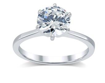 Diamond Engagement Ring 1.81 Ct- Minimalist Solitaire Diamond Ring 14K Gold- Tapered Band Solitaire Engagement Ring; Round True Diamond K-