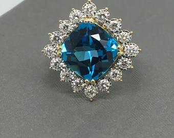 14K Yellow Gold Natural Diamond and Cushion Cut Blue Topaz Ring