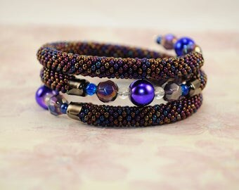 Petrol bead crochet bracelet beaded jewelry women rope beadwork round bangle handmade seed Ukrainian valentine gift for her love bright boho