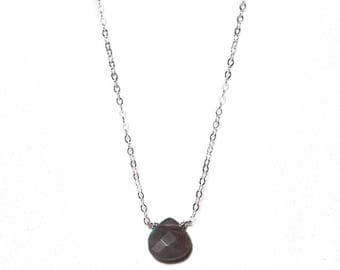 "small labradorite CHRISTINE NECKLACE with sterling silver chain* 16-18"" dainty necklace with teardrop"