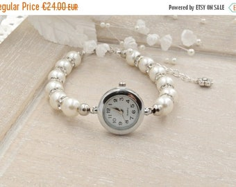 Sale Ivory Pearl Bracelet Watch Beaded Bracelet Watch Bridal White Pearl Bracelet Wedding Jewelry Pearl Watch Ladies Watch Womens Watch Gift