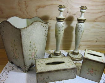 Set Of Vintage Shabby Chic Bathroom Decor * Wood Waste Basket * Wood Tissue  Box Covers