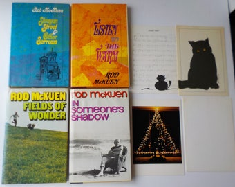 Lot of 4 Hardcover Rod McKuen Books and 4 Greeting Cards, 3 Signed Autographed Listen to the Warm Fields of Wonder  Stanyan Street