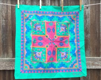 1990s Southwest Bandana - Cotton Bandana - Southwestern Style - Bright Colors - Navajo Bandana - Made in the USA