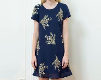 vintage blue floral dress | navy blue flower print dress | navy yellow mini dress | sheer chiffon floral sundress | medium | 1990s | 90s