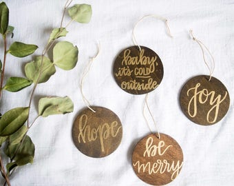 Gold Embossed Wooden Holiday Ornament