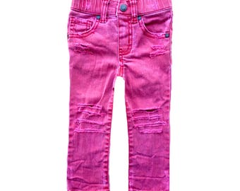 Toddler boy red skinny jeans Size 12-18 months Toddler boy pants Kid skinny jeans Distressed denim Cool kid clothes Trendy kid clothes Kids