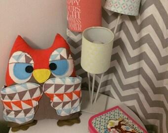 Blue beige orange OWL pillow