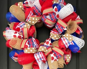 Red, white, and blue wreath - baseball wreath - summer wreath - team wreath - summer burlap wreath - summer wreath for front door - summer