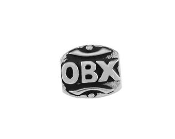 Outer Banks/OBX w/Lighthouse Large Hole Silver Bead - Compatible with ALL Popular Bracelet Brands - Made in USA! - Item #13458