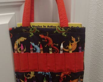 CLEARANCE! Coloring Bags, tote. Blue, orange, geckos