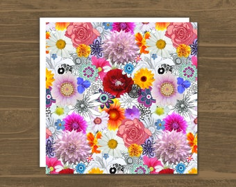 Flowers Galore - For her - Greetings Card - Photographic - Hand drawn - Flowers - Collage - Colourful - Bright - Garden Flowers - Cards