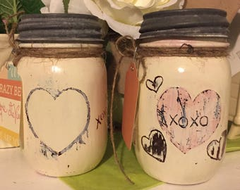 Valentines Gift hand painted jar night light.