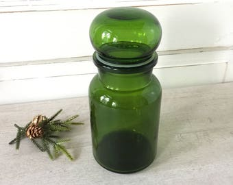 "Vintage Green Glass Airtight Kitchen Canister Made in Belgium Large 8 1/2"","