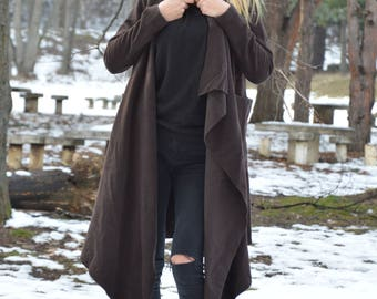 Women Coats, Cashmere Brown Coat, Asymmetric Wool Fabric Coat, Large Side Pockets Fashion Coat by SSDfashion