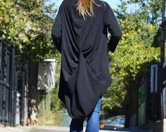 Asymmetric Black Maxi Sweatshirt, Extravagant French Terry, Oversize Long Sleeves, Maxi Cotton Tunic zipped by SSDfashion